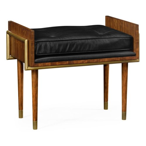 Cosmo Hyedua Stool, Upholstered in Black Leather