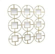 "Gold 9 Circle/square Mirror 27"", Wb"