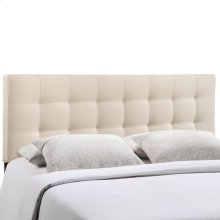 Lily Full Tufted Upholstered Fabric Headboard in Ivory