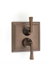Leyden Dual-control Thermostatic Valve with Volume Control and Diverter Trim with Lever Handles - Bronze