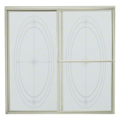 "Deluxe Sliding Bath Door - Height 56-1/4"", Max. Opening 59-3/8"" - Nickel with Ellipse Glass Pattern"