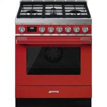 "Portofino Pro-Style Dual Fuel Range, Red, 30"" x 25"""