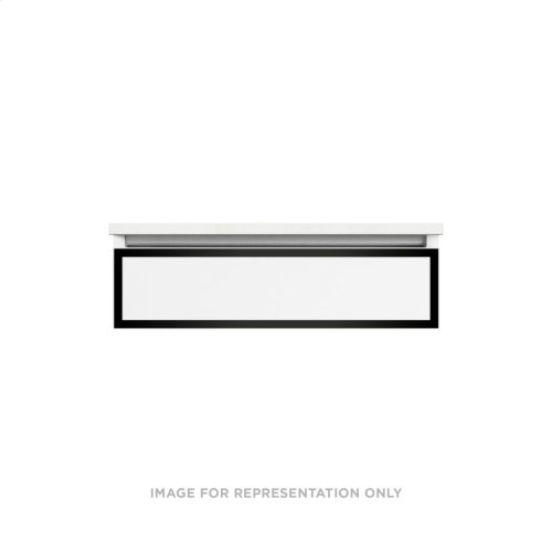 """Profiles 30-1/8"""" X 7-1/2"""" X 18-3/4"""" Framed Slim Drawer Vanity In Tinted Gray Mirror With Matte Black Finish and Slow-close Plumbing Drawer and Selectable Night Light In 2700k/4000k Color Temperature"""