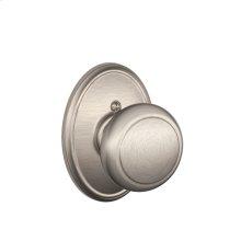 Andover Knob with Wakefield trim Non-turning Lock - Satin Nickel