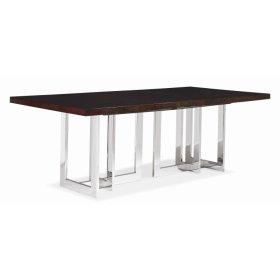 Milan Satin Walnut Dining Table With Metal Base