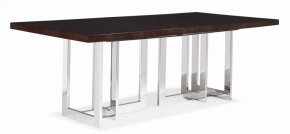 Satin Walnut Dining Table With Metal Base