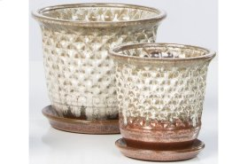 White Fossette Petits Pots with Attached Saucers - Set of 2