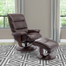 Knight Robust Manual Reclining Swivel Chair and Ottoman
