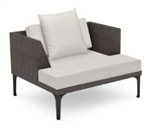 "42"" Outdoor Dark Grey Rattan Single Sofa Lounger, Upholstered in COM"