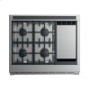 "Fisher & Paykel Gas Range, 36"", 4 Burners With Griddle, Lpg"