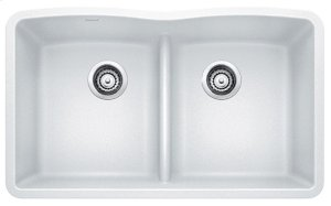 Blanco Diamond Equal Double Bowl With Low-divide - White