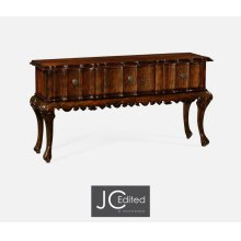 Rectangular Console Table in Rustic Walnut with Drawers