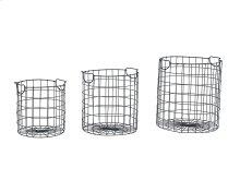 Black Wire Checker Baskets