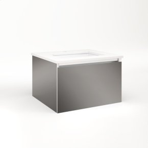 """Cartesian 24-1/8"""" X 15"""" X 21-3/4"""" Single Drawer Vanity In Tinted Gray Mirror With Slow-close Full Drawer and No Night Light"""