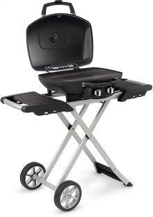 TravelQ 285 X Blue Portable Gas Grill with Scissor Cart