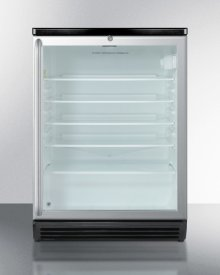 """Commercially Listed Counter Height Beverage Center In 24"""" Footprint, With Black Cabinet, Glass Door, Full-length Stainless Steel Handle, and Lock"""