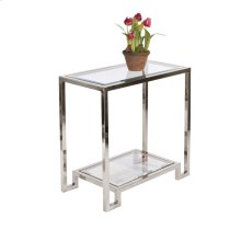 2 Tier Nickel Plated Table W. Clear Glass Tops.
