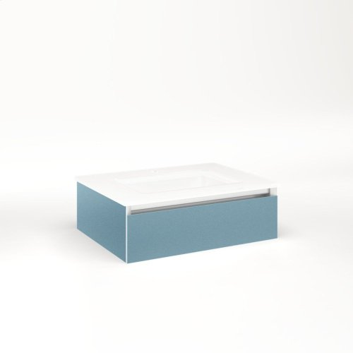 """Cartesian 24-1/8"""" X 7-1/2"""" X 18-3/4"""" Slim Drawer Vanity In Ocean With Slow-close Tip Out Drawer and No Night Light"""