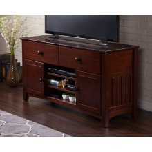 Mission 2 Drawer 50 inch Entertainment Console with Adjustable Shelves in Walnut