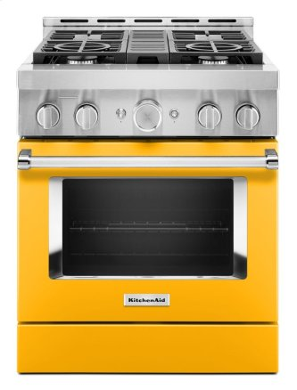 KitchenAid™ 30'' Smart Commercial-Style Gas Range with 4 Burners - Yellow Pepper