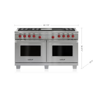 "Wolf  60"" Dual Fuel Range - 6 Burners, Infrared Charbroiler and Infrared Griddle"