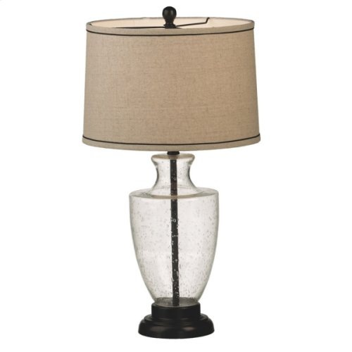 Bubble Glass Lamp with Linen Shade. 150W Max.
