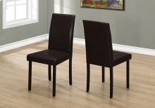 """DINING CHAIR - 2PCS / 36""""H DARK BROWN LEATHER-LOOK"""