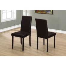 "DINING CHAIR - 2PCS / 36""H DARK BROWN LEATHER-LOOK"