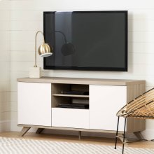 Scandinavian TV Stand with Drawer and Doors for TVs up to 65\ - Soft Elm and Pure White
