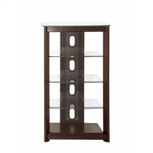 Dark Brown Media Tower With Glass Shelves
