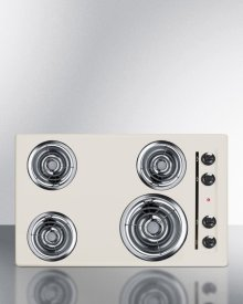"""30"""" Wide 220v Electric Cooktop In Bisque With 4 Coil Elements"""