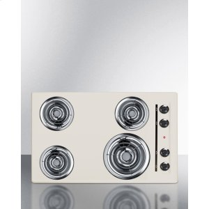 """Summit30"""" Wide 220v Electric Cooktop In Bisque With 4 Coil Elements"""