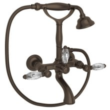 Tuscan Brass Italian Bath Exposed Wall Mount Tub Filler With Handshower with Crystal Lever