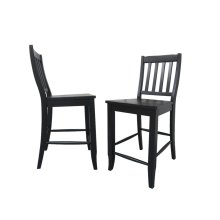 "DLU-B20-AB-2  School House 24"" Barstool  Counter Height Stool  Antique Black  Set of 2"