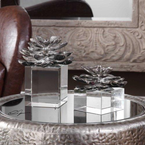 Indian Lotus Sculptures, S/2