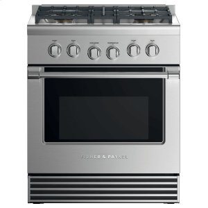 "Fisher & PaykelDual Fuel Range, 30"", 4 Burners, LPG"
