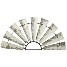 Distressed White Galvanized Half Windmill Wall Decor