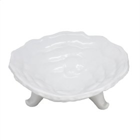 "Ceramic Footed Bowl 10"", White"