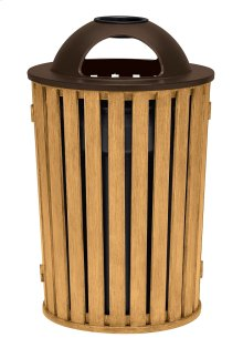 District Round Waste Receptacle with Dome Hood and Ash Urn, Faux Wood Slat
