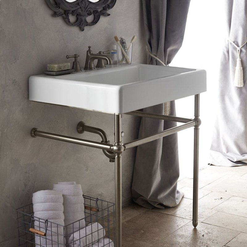 Oak Hill 30 Bathroom Sink With Console Canvas White Brushed Nickel