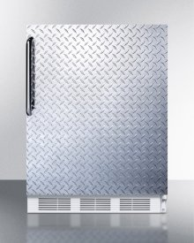 ADA Compliant Freestanding Refrigerator-freezer for Residential Use, Cycle Defrost With Deluxe Interior, Diamond Plate Door, Towel Bar Handle, and White Cabinet