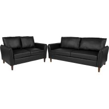 Milton Park Upholstered Plush Pillow Back Loveseat and Sofa Set in Black Leather