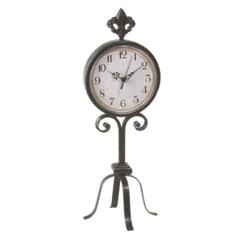 Antique Bronze Fleur de Lis Desk Clock