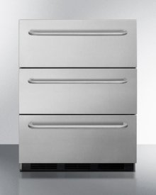 Commercially Approved ADA Compliant Three-drawer Refrigerator In Stainless Steel With Towel Bar Handles, for Built-in or Freestanding Use