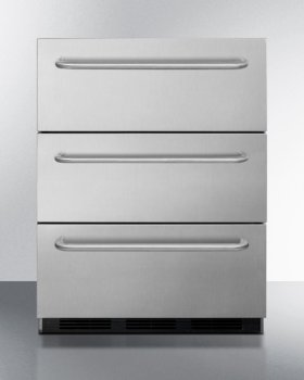 Commercially Approved ADA Compliant Three-drawer Refrigerator In Stainless Steel With Towel Bar Handles, for Built-in or Freestanding Use - CLOSEOUT! [ New In Original Mfg. Sealed Carton  / Full Mfg. Warranty - Linthicum Md. ID#:P162210 / SER# 1010032017] - Must Purchase On Line - All Sales Final