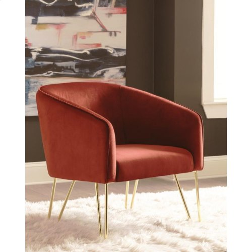 Modern Red and Brass Accent Chair