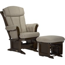 Sleigh-style wood glider features a base with wooden dowels.