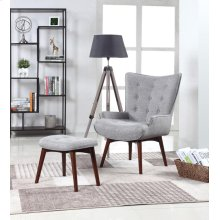 Mid-century Modern Grey Accent Chair and Ottoman