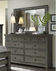 Mirror - Distressed Dark Gray Finish