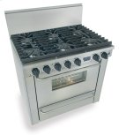 "36"" Six Burner All Gas Range, Sealed Burners, Stainless Steel Product Image"